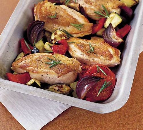 One Dish Roasted Ratatouille Chicken
